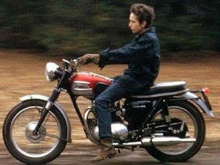 Bob Dylan on a Triumph